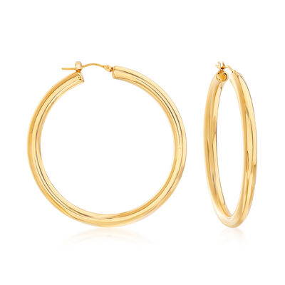 Italian Andiamo Hoop Earrings in 14kt Yellow Gold Over Resin, , default
