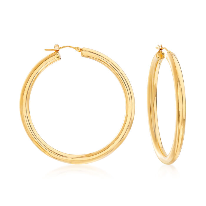 """Italian Andiamo Hoop Earrings in 14kt Yellow Gold Over Resin. 2"""", , default"""
