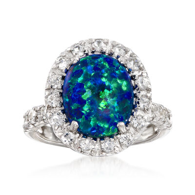 Blue Opal and 1.10 ct. t.w. White Topaz Ring in Sterling Silver, , default
