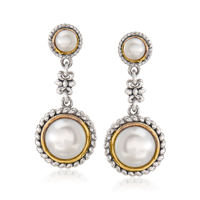 Cultured Pearl Flower Drop Earrings in Sterling Silver and 14kt Yellow Gold, , default