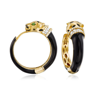 .88 ct. t.w. White Zircon and .10 ct. t.w. Green Chrome Diopside Panther Hoop Earrings in 18kt Gold Over Sterling with Black Enamel