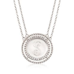 .16 ct. t.w. Diamond Single Initial Circle Necklace in Sterling Silver, , default