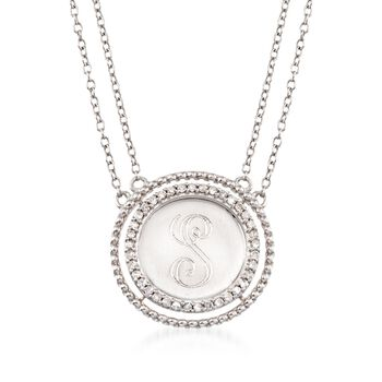 ".16 ct. t.w. Diamond Single Initial Circle Necklace in Sterling Silver. 18"", , default"