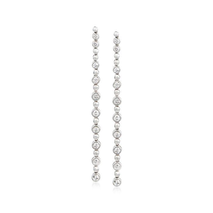 1.25 ct. t.w. Bezel-Set Diamond Linear Drop Earrings in 14kt White Gold, , default