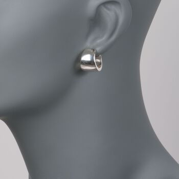 Zina Sterling Silver Huggie Hoop Earrings. 1/2""