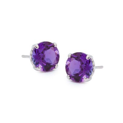 3.40 ct. t.w. Amethyst Studs in 14kt White Gold, , default