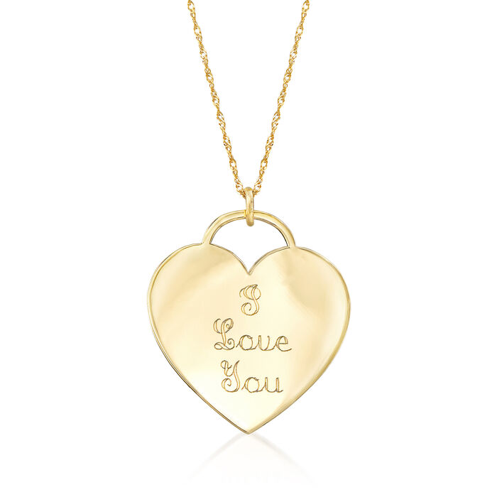 """14kt Yellow Gold Heart-Shaped """"I Love You"""" Pendant Necklace Adjustable Size (English)"""