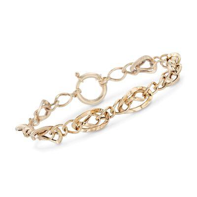 14kt Yellow Gold Wavy Link Bracelet , , default