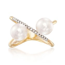 7.5mm Cultured Pearl and Diamond Accent Crisscross Ring in 14kt Yellow Gold, , default