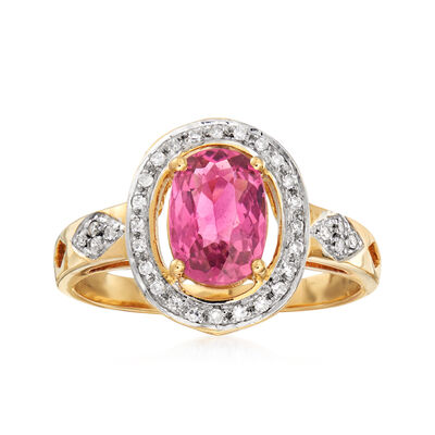 1.20 Carat Pink Tourmaline and .10 ct. t.w. Diamond Ring in 18kt Yellow Gold