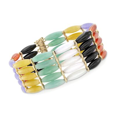 Multicolored Jade Bead Bracelet in Sterling Silver, , default