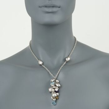 """C. 2000 Vintage Roberto Coin 13.20 ct. t.w. Multi-Stone Necklace in 18kt White Gold. 17"""", , default"""