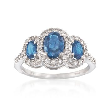 1.65 ct. t.w. Sapphire and .50 ct. t.w. Diamond Ring in 14kt White Gold, , default