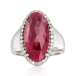 9.00 Carat Ruby and .43 ct. t.w. Diamond Ring in Sterling Silver, , default