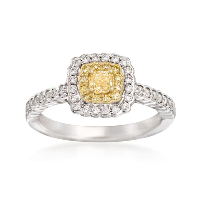 Gregg Ruth .66 ct. t.w. Yellow and White Diamond Ring in 18kt Two-Tone Gold