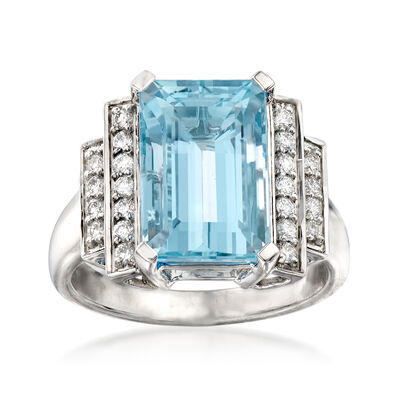 5.50 Carat Aquamarine and .30 ct. t.w. Diamond Ring in 14kt White Gold, , default