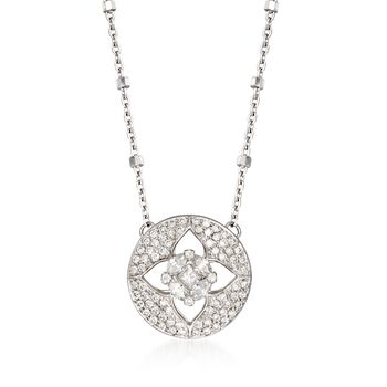""".47 ct. t.w. Diamond Floral Illusion Necklace in 14kt White Gold. 18"""", , default"""