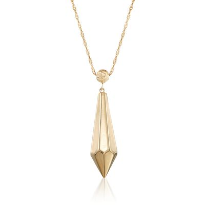 14kt Yellow Gold Elongated Faceted Drop Necklace, , default