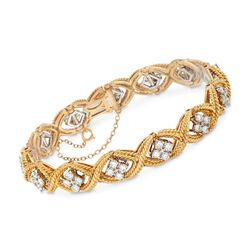 "C. 1980 Vintage Jabel 3.60 ct. t.w. Diamond Rope Station Bracelet in 18kt Yellow Gold. 7.25"", , default"