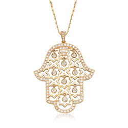 .87 ct. t.w. Diamond Hamsa Hand Necklace in 14kt Yellow Gold, , default