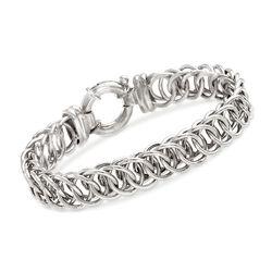 Italian Sterling Silver Interlocking Circle-Link Bracelet, , default
