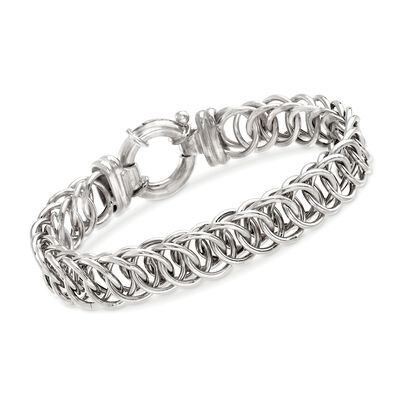 Italian Sterling Silver Interlocking Circle-Link Bracelet, , default