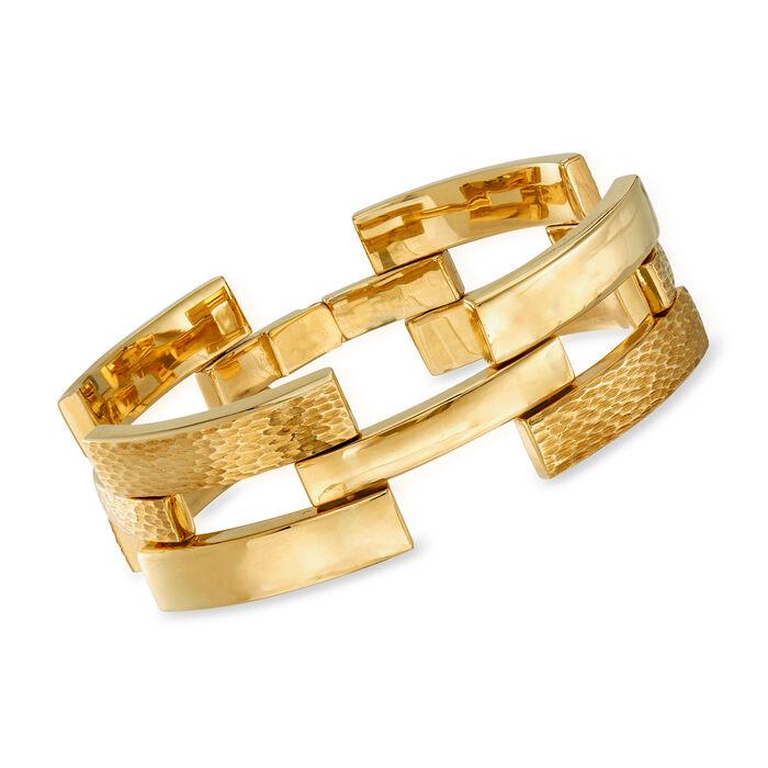 """C. 1970 Vintage Wide 18kt Yellow Gold Link Bracelet. 7.5"""", , default"""
