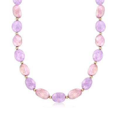 Kunzite and Amethyst Bead Necklace in 14kt Yellow Gold, , default