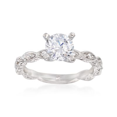 Gabriel Designs .13 ct. t.w. Diamond Engagement Ring Setting in 14kt White Gold