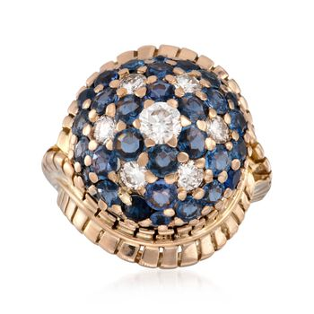 C. 1960 Vintage 6.00 ct. t.w. Sapphire and 1.10 ct. t.w. Diamond Dome Ring in 18kt Yellow Gold. Size 6.5, , default