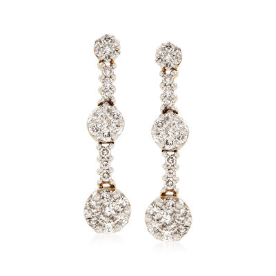 2.00 ct. t.w. Diamond Cluster Drop Earrings in 18kt White Gold
