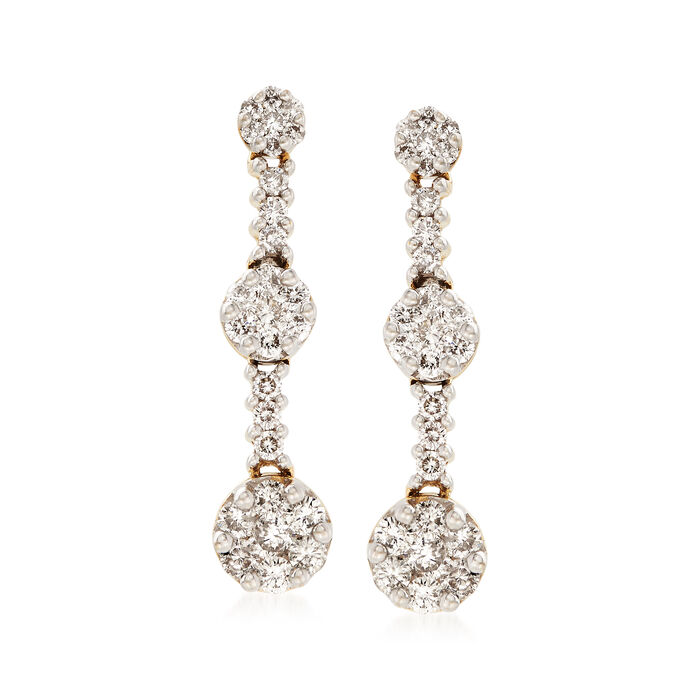2.00 ct. t.w. Diamond Cluster Drop Earrings in 18kt White Gold