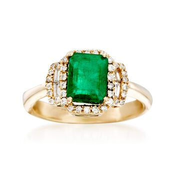 1.60 Carat Emerald and .29 ct. t.w. Diamond Ring in 14kt Yellow Gold, , default
