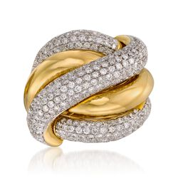 3.60 ct. t.w. Diamond Crisscross Ring in 18kt Yellow Gold, , default