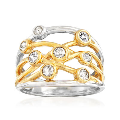 .50 ct. t.w. Bezel-Set Diamond Highway Ring in 14kt Two-Tone Gold, , default