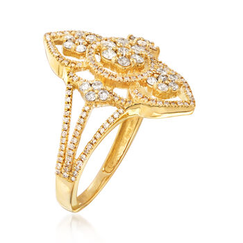 .70 ct. t.w. Diamond Openwork Ring in 14kt Yellow Gold