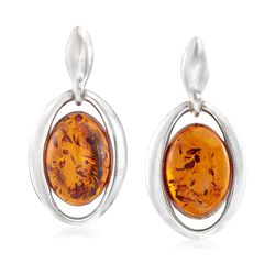 Oval Amber Open-Frame Drop Earrings in Sterling Silver, , default