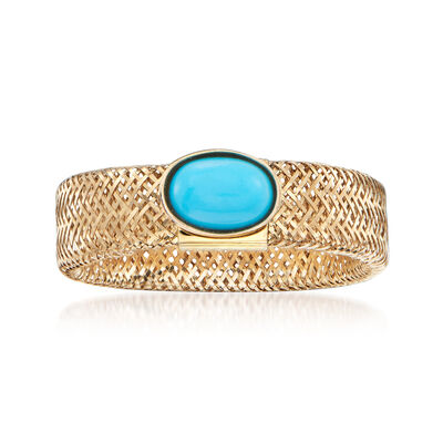 Italian Reconstituted Turquoise Mesh Ring in 14kt Yellow Gold, , default