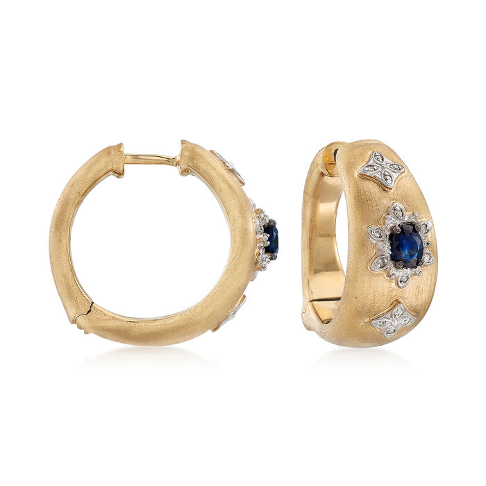 """.50 ct. t.w. Sapphire and .12 ct. t.w. Diamond Hoop Earrings in 14kt Yellow Gold. 3/4"""""""