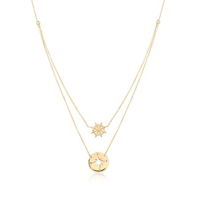 14kt Yellow Gold Nautical Helm Wheel and Compass Necklace, , default