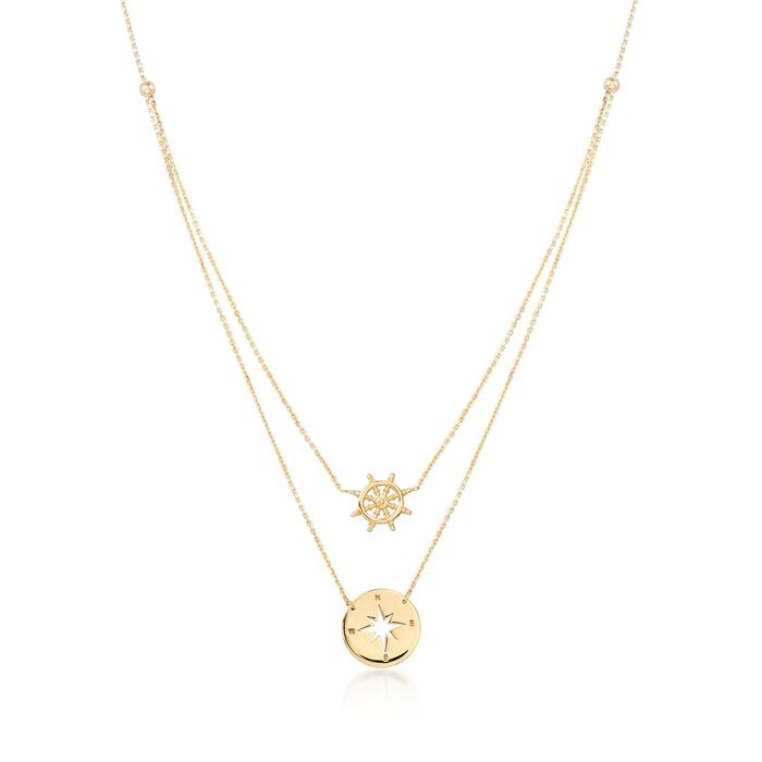 """14kt Yellow Gold Nautical Helm Wheel and Compass Necklace. 16"""", , default"""