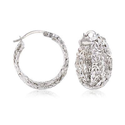 Sterling Silver Byzantine Crisscross Hoop Earrings, , default