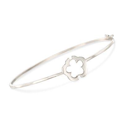 Italian 14kt White Gold Flower Bangle Bracelet, , default