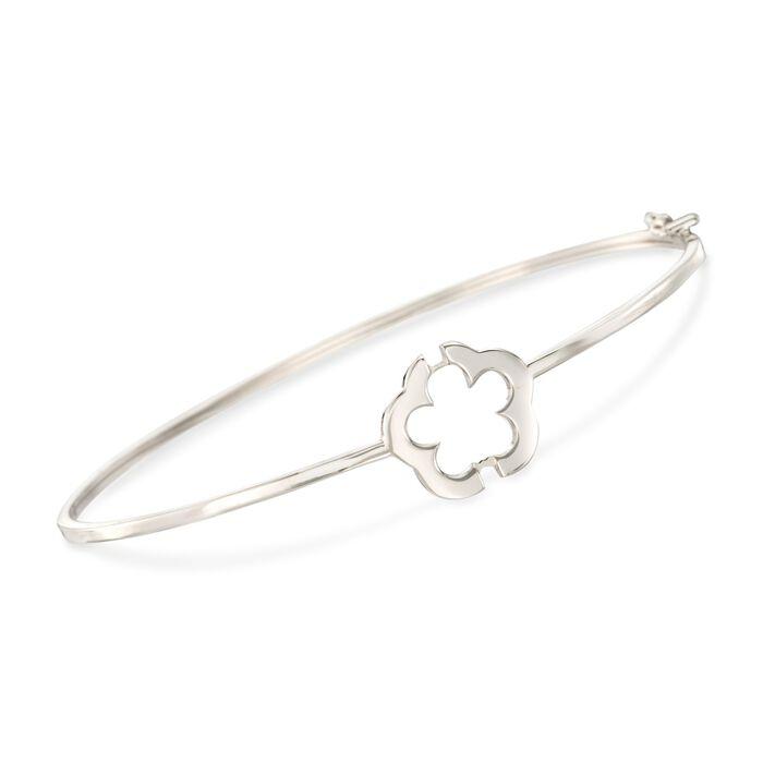"""Italian 14kt White Gold Flower Bangle Bracelet. 7.5"""", , default"""