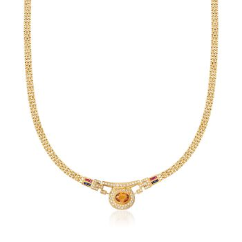 """C. 1990 Vintage 6.95 ct. t.w. Multi-Stone Necklace in 18kt Yellow Gold. 19.5"""", , default"""