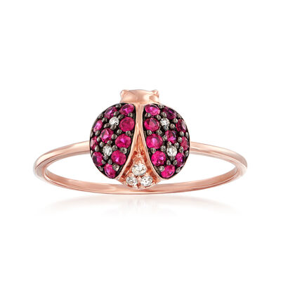 .30 ct. t.w. Ruby and Diamond-Accented Ladybug Ring in 14kt Rose Gold with Black Rhodium, , default