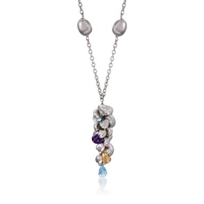 C. 2000 Vintage Roberto Coin 13.20 ct. t.w. Multi-Stone Necklace in 18kt White Gold, , default