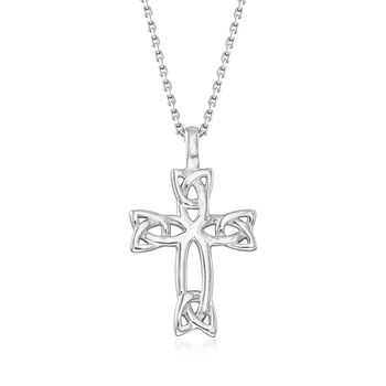 "Sterling Silver Celtic Trinity Knot Cross Pendant Necklace. 18"", , default"
