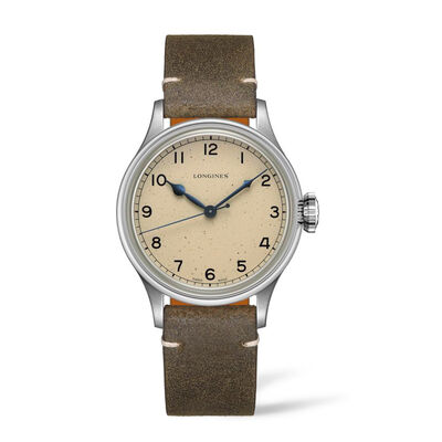 Longines Heritage Military Men's 38.5mm Automatic Stainless Steel Watch with Brown Leather