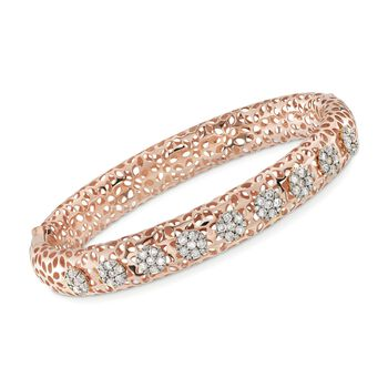 """1.40 ct. t.w. Diamond Cluster Floral Bangle Bracelet in 18kt Rose Gold. 7"""", , default"""
